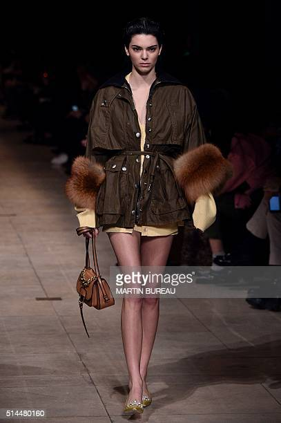 US model Kendall Jenner presents a creation for Miu Miu during the 20162017 fall/winter readytowear collection on March 9 2016 in Paris AFP PHOTO /...