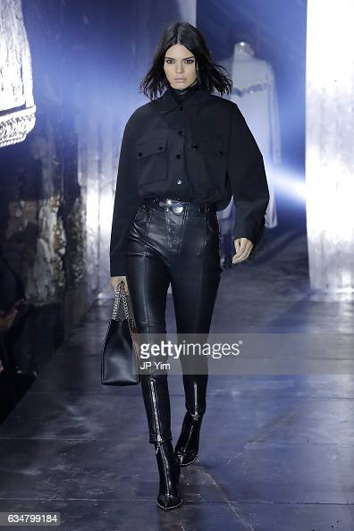 Model Kendall Jenner walks the runway at the Alexander Wang February 2017 fashion show during New York Fashion Week on February 11 2017 in New York...