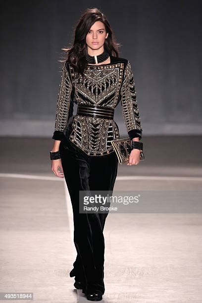 Model Kendall Jenner walks the runway at the BALMAIN X HM Collection Launch at 23 Wall Street on October 20 2015 in New York City