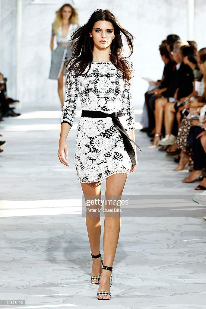 Model Kendall Jenner walks the runway at the Diane Von Furstenberg fashion show during MercedesBenz Fashion Week Spring 2015 at Spring Studios on...