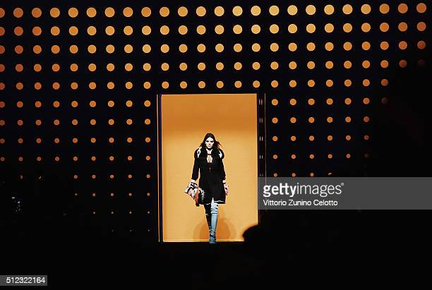 Model Kendall Jenner walks the runway at the Fendi show during Milan Fashion Week Fall/Winter 2016/17 on February 25 2016 in Milan Italy