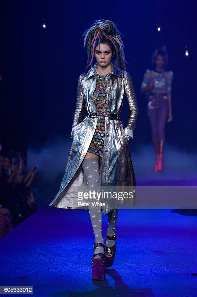 Model Kendall Jenner walks the runway at the Marc Jacobs fashion show during New York Fashion Week at Hammerstein Ballroom on September 15 2016 in...