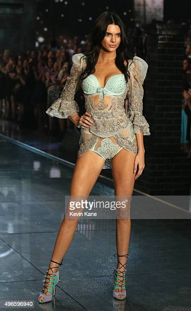 Model Kendall Jenner walks the runway during the 2015 Victoria's Secret Fashion Show at Lexington Armory on November 10 2015 in New York City
