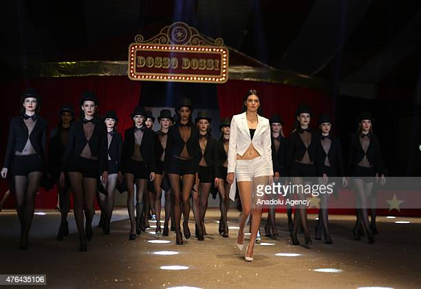 US model Kendall Jenner walks the runway during the 20th Dosso Dossi Fashion Show in Antalya Turkey on June 09 2015