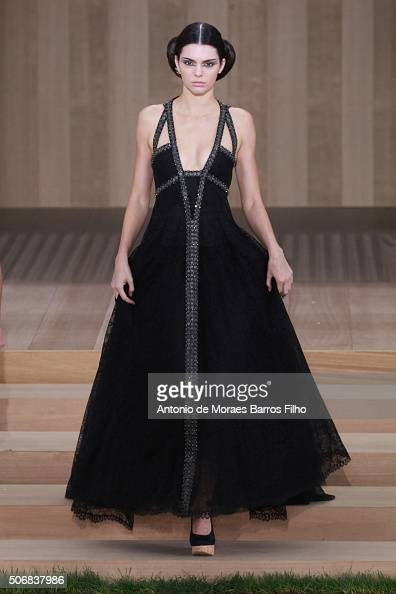 Model Kendall Jenner walks the runway during the Chanel Haute Couture Spring Summer 2016 show as part of Paris Fashion Week on January 26 2016 in...