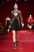 A model Kendall Jenner walks the runway during the Dolce Gabbana Show as part of Milan Fashion Week Womenswear Spring/Summer 2015on September 21 2014...