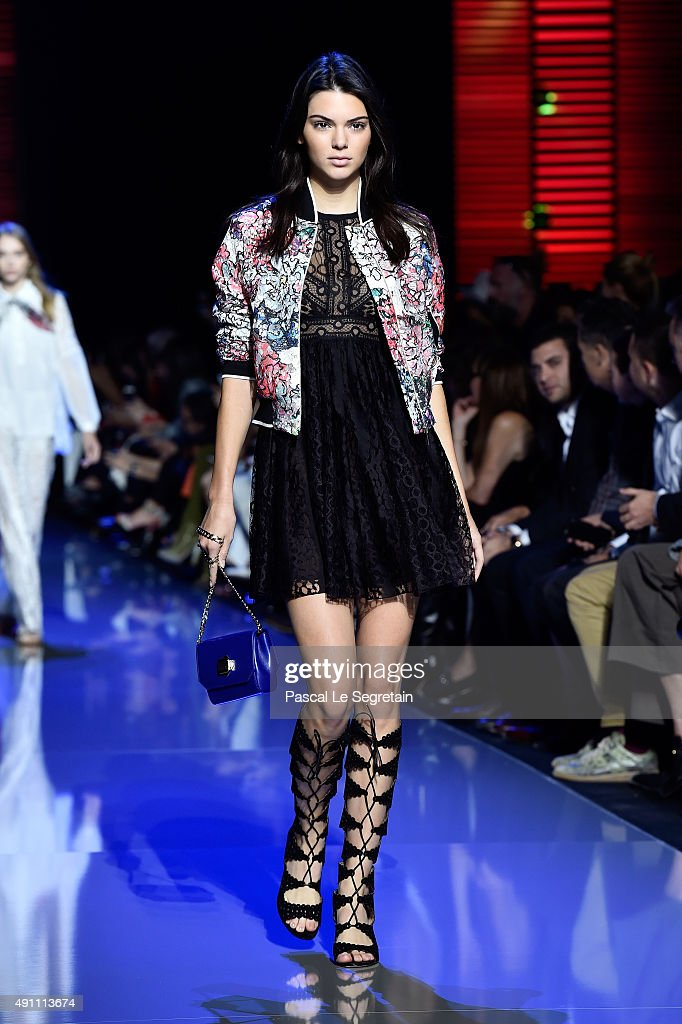 Model Kendall Jenner walks the runway during the Elie Saab show as part of the Paris Fashion Week Womenswear Spring/Summer 2016 on October 3 2015 in...