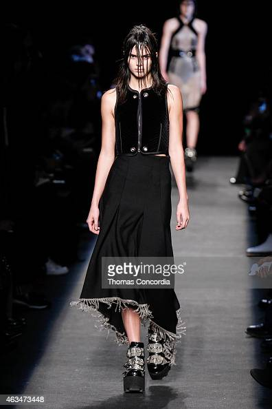 Model Kendall Jenner walks the runway wearing Alexander Wang during MercedesBenz Fashion Week in New York at Pier 94 on February 14 2015 in New York...