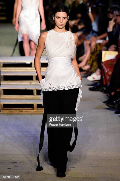 Model Kendall Jenner walks the runway wearing Givenchy Spring 2016 during New York Fashion Week at Pier 26 at Hudson River Park on September 11 2015...