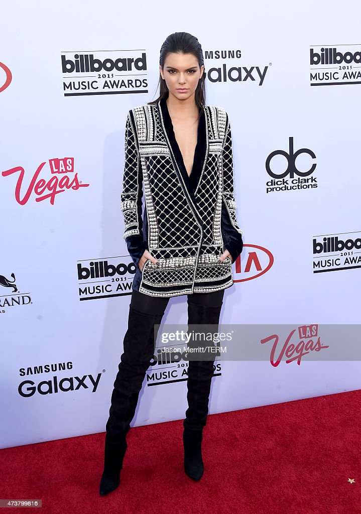 Model Kendall Jenner wearing Balmain x HM attends the 2015 Billboard Music Awards at MGM Grand Garden Arena on May 17 2015 in Las Vegas Nevada