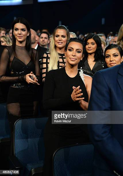 Model Kendall Jenner with TV Personalities Khloe Kardashian Kim Kardashian and Kylie Jenner at The 2015 ESPYS at Microsoft Theater on July 15 2015 in...