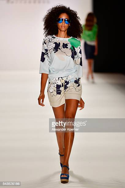 Model Keziah Marie walks the runway at the Sportalm show during the MercedesBenz Fashion Week Berlin Spring/Summer 2017 at Erika Hess Eisstadion on...