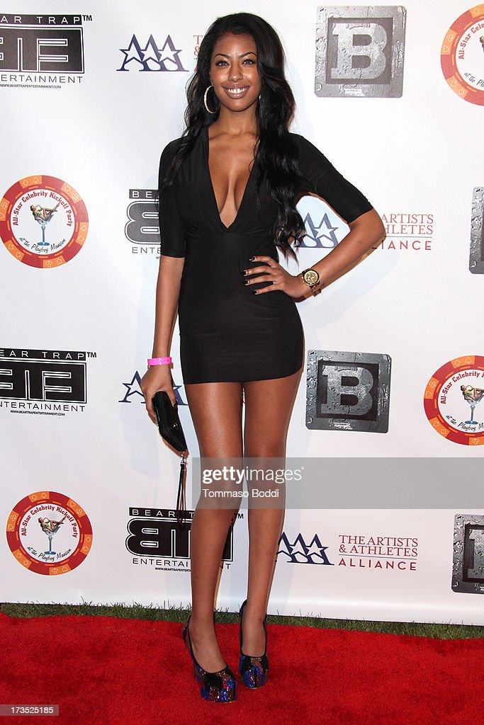 Model Kia Chanel attends the 8th annual BTE All-Star Celebrity Kickoff Party held at The Playboy Mansion on July 15, 2013 in Beverly Hills, California.