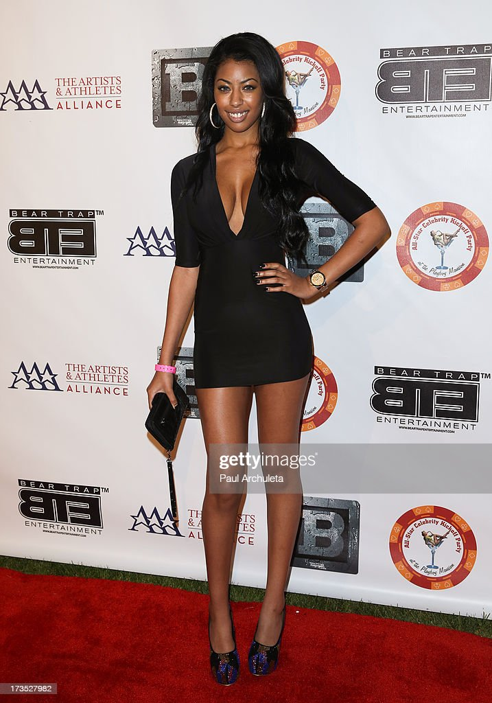 Model Kia Chanel attends the 8th annual BTE All-Star Celebrity Kickoff Party at The Playboy Mansion on July 15, 2013 in Beverly Hills, California.