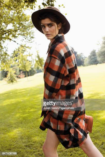 Model poses at a fashion shoot for Madame Figaro on June 22 2017 in EvianlesBains France Shirt hat PUBLISHED IMAGE CREDIT MUST READ Julien...