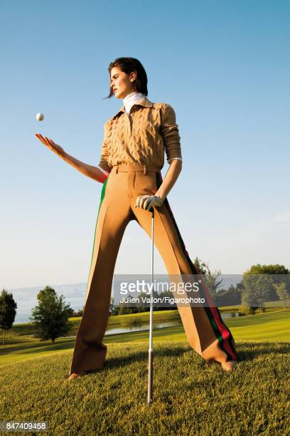 Model poses at a fashion shoot for Madame Figaro on June 22 2017 in EvianlesBains France Shirt body pants glove boots PUBLISHED IMAGE CREDIT MUST...