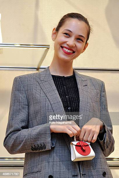 Model Kiko Mizuhara attends the Delvaux Red Moon Party at Delvaux Omotesando on November 7 2014 in Tokyo Japan