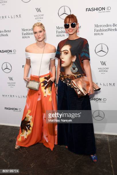 Model Kim Hnizdo and Sussan Zeck attend the Rebekka Ruetz show during the MercedesBenz Fashion Week Berlin Spring/Summer 2018 at Kaufhaus Jandorf on...