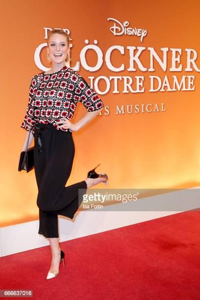 Model Kim Hnizdo attends the premiere of the musical 'Der Gloeckner von Notre Dame' on April 9 2017 in Berlin Germany