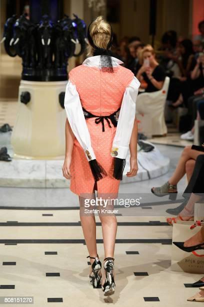 Model Kim Hnizdo walks the runway at the Anja Gockel show during the MercedesBenz Fashion Week Berlin Spring/Summer 2018 at Hotel Adlon on July 4...