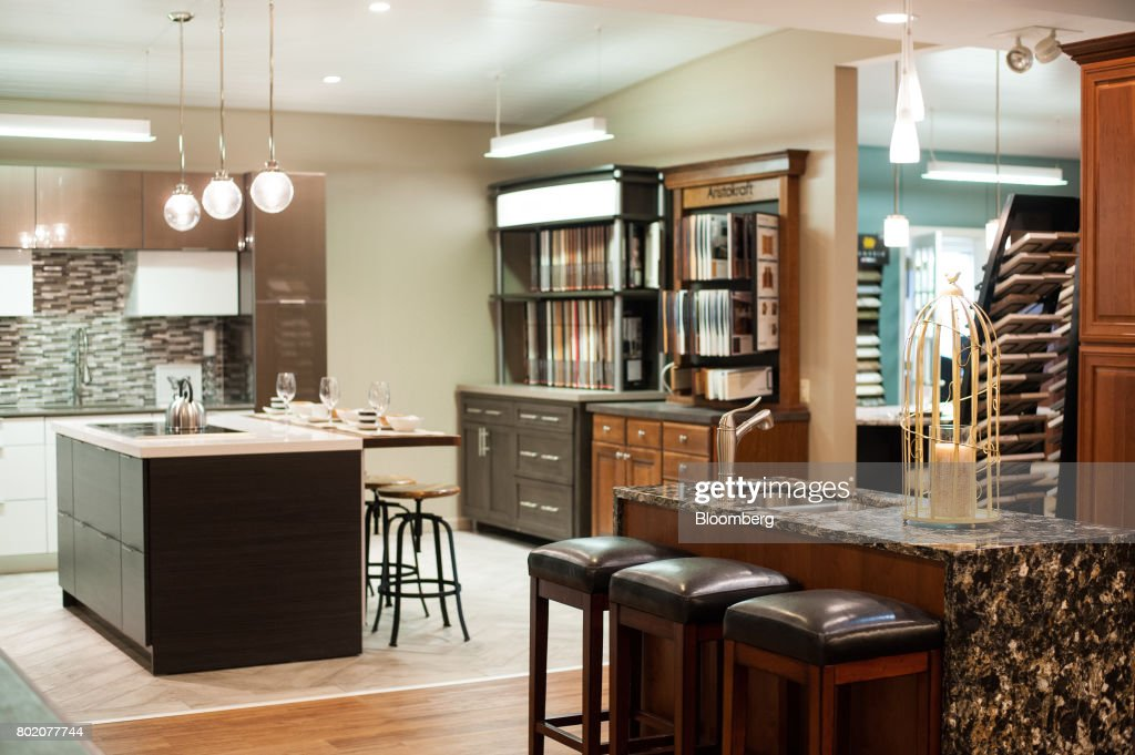 Model Kitchens Stand On Display In The Design Studio At The 84 Lumber Co  Retail Store