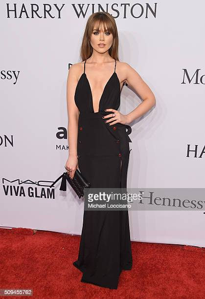 Model Kristina Bazan attends 2016 amfAR New York Gala at Cipriani Wall Street on February 10 2016 in New York City