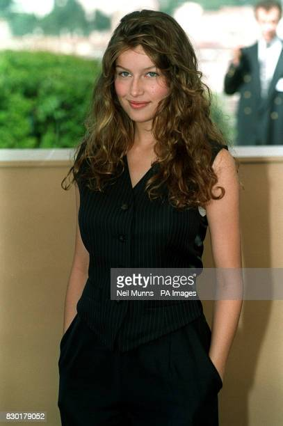 Model Laetitia Casta at a photocall for L'oreal products on the rooftop of the Palais des Festivals during the Cannes Film Festival 1999 in France...