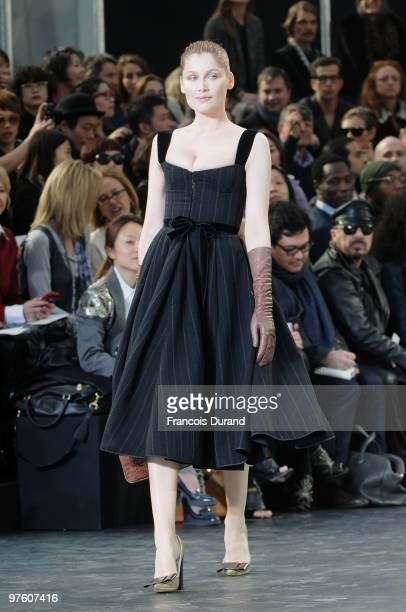 Model Laetitia Casta walks the runway during the Louis Vuitton Ready to Wear show as part of the Paris Womenswear Fashion Week Fall/Winter 2011 at...