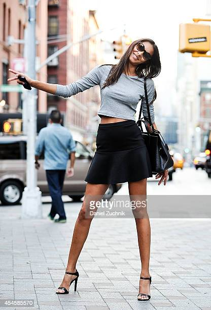 Model Lais Ribeiro is seen around Soho wearing a Topshop top Mango skirt Louis Vuitton bag Ralph Lauren sunglasses and Prada shoes on September 3...