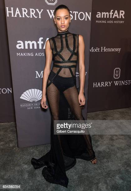 Model Lameka Fox attends 19th Annual amfAR New York Gala at Cipriani Wall Street on February 8 2017 in New York City