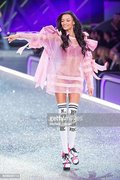 Model Lameka Fox walks the runway during the 2016 Victoria's Secret Fashion Show at Le Grand Palais in Paris on November 30 2016 in Paris France
