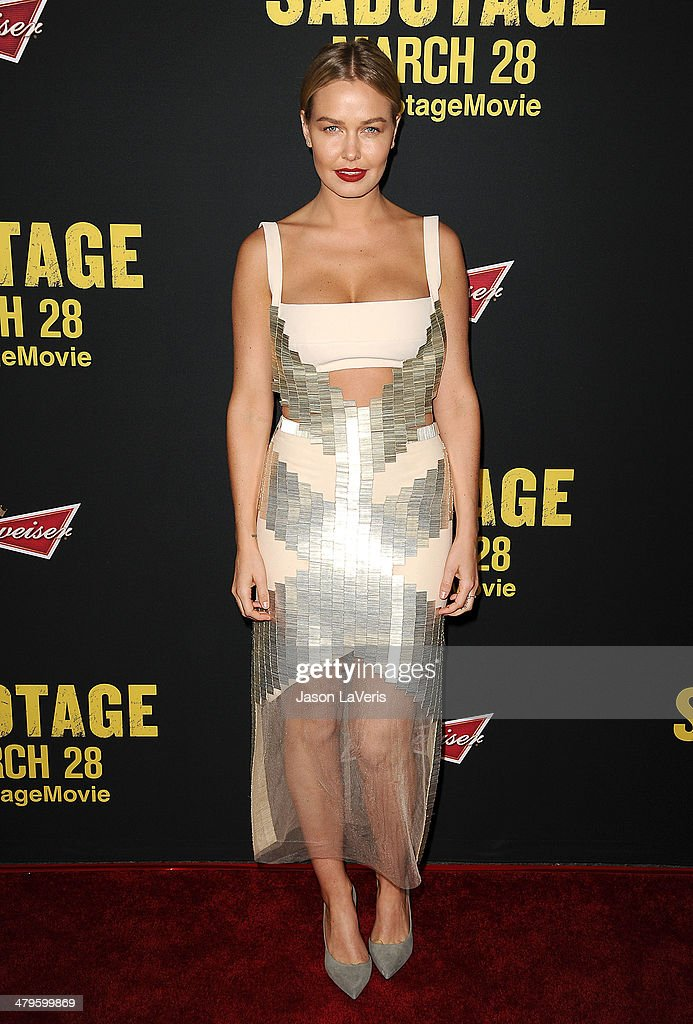 Model Lara Bingle attends the premiere of 'Sabotage' at Regal Cinemas L.A. Live on March 19, 2014 in Los Angeles, California.