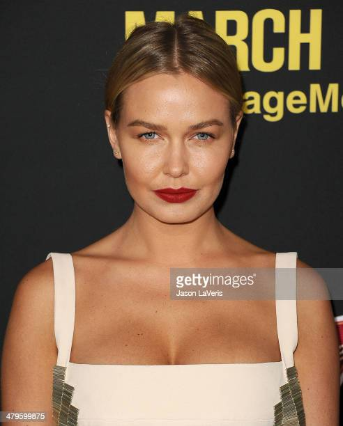 Model Lara Bingle attends the premiere of 'Sabotage' at Regal Cinemas LA Live on March 19 2014 in Los Angeles California