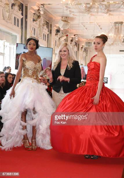 Model Lara Jalloh Katherine Derkeff and a model walk the runway during 'Fashion Night Couture 2017' Show at Salon des Miroirs on April 26 2017 in...