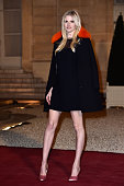 Model Lara Stone arrives at The State Dinner in Honor Of King WillemAlexander of the Netherlands and Queen Maxima on March 10 2016 in Paris France...