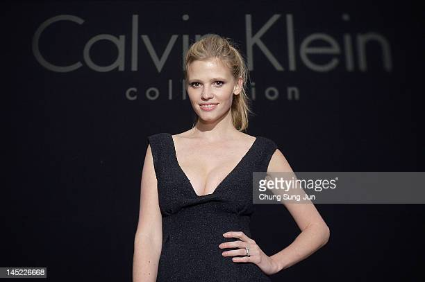 Model Lara Stone attends the Calvin Klein Collection Hosts a special onenight exhibition entitled 'Infinite Loop' organized by the New Museum of...
