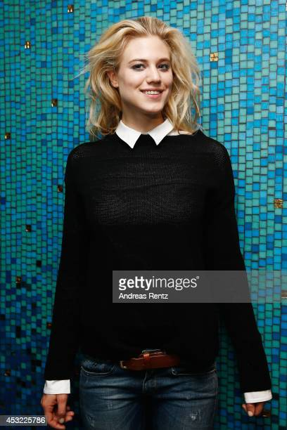 Model Larissa Marolt poses for a portrait after the GarconF fashion show at BalloniHallen on August 5 2014 in Cologne Germany