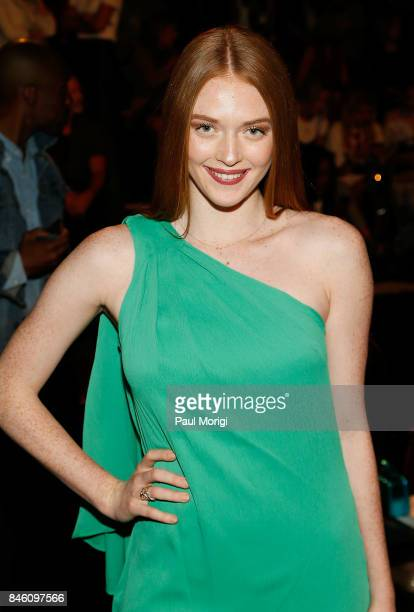 Model Larsen Thompson attends the Badgley Mischka fashion show during New York Fashion Week The Shows at Gallery 1 Skylight Clarkson Sq on September...