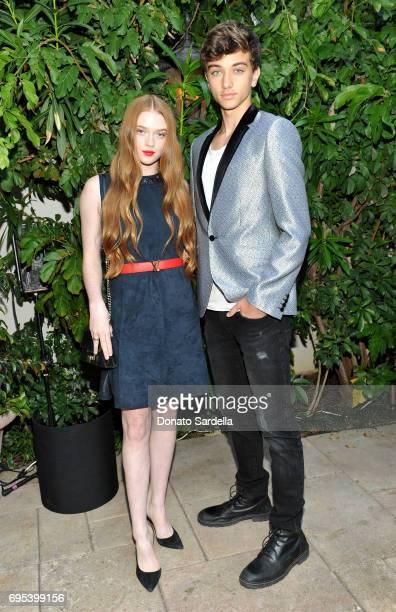 Model Larsen Thompson wearing Max Mara and Gavin Casalegno at Max Mara Celebrates Zoey Deutch The 2017 Women In Film Max Mara Face of the Future at...