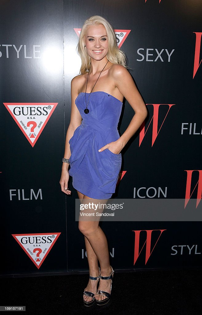 Model Laura James attends W Magazine and Guess celebrating 30 years of fashion and film and the next generation of style icons at Laurel Hardware on January 8, 2013 in West Hollywood, California.