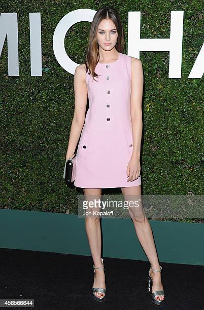Model Laura Love arrives at Michael Kors Celebrates The Launch Of Claiborne Swanson Frank's 'Young Hollywood' Portrait Book on October 2 2014 in...