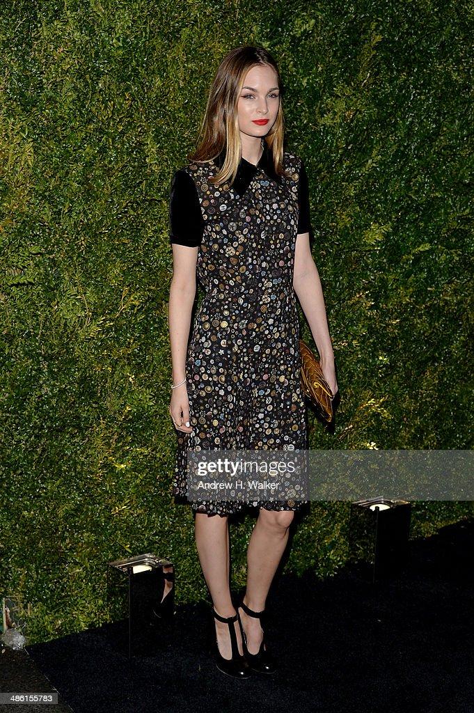 Model Laura Love attends the Chanel Tribeca Film Festival Artist Dinner during the 2014 Tribeca Film Festival at Balthazar on April 22, 2014 in New York City.