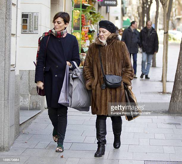 Model Laura Ponte and her mother Marcela Martinez Zapico are seen on January 23 2013 in Madrid Spain