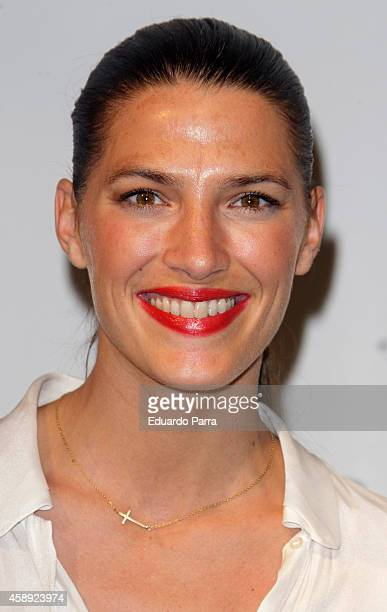 Model Laura Sanchez attends Santiago del Palacio new collection presentation photocall at Association of Architects on November 13 2014 in Madrid...