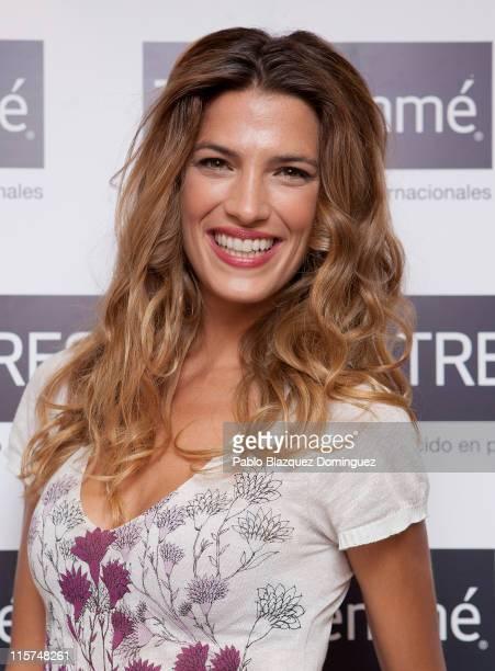 Model Laura Sanchez presents 'TRESemme' New hair products at Un chicle en el tacon Showroom on June 9 2011 in Madrid Spain