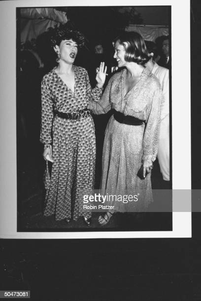 Model Lauren Hutton chatting w actress Ann Magnuson at premiere party for the movie A League of Their Own at Tavern on the Green restaurant