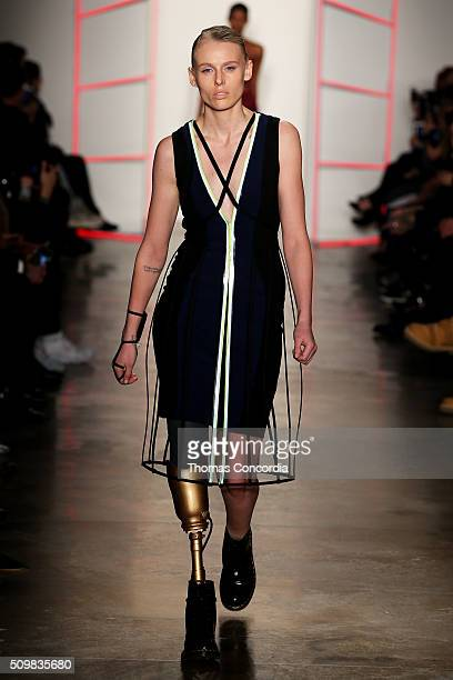 A model walks the runway wearing Chromat Fall 2016 during New York Fashion Week at Milk Studios on February 12 2016 in New York City