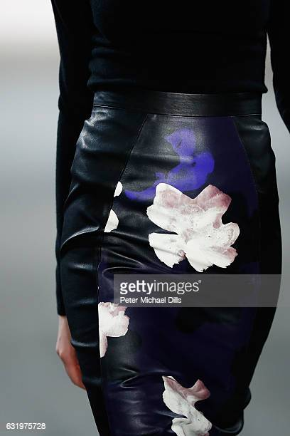 A model leather detail walks the runway at the Maisonnoee show during the MercedesBenz Fashion Week Berlin A/W 2017 at Kaufhaus Jandorf on January 18...