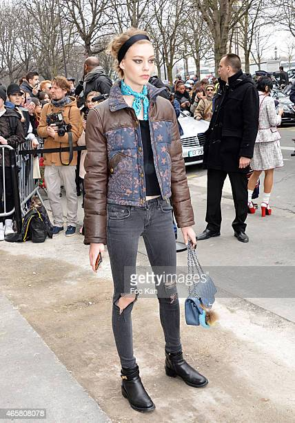 A model leaves the Chanel show as part of the Paris Fashion Week Womenswear Fall/Winter 2015/2016 on March 10 2015 in Paris France