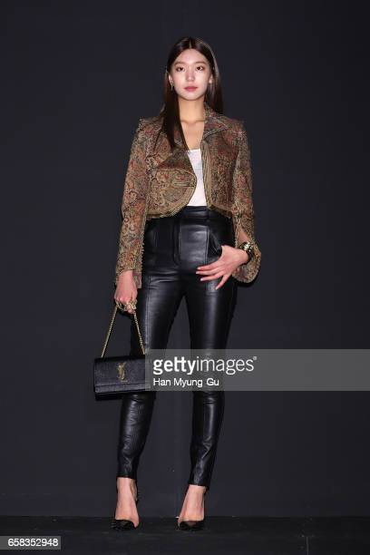 Model Lee HoJung attends the photocall for 'Saint Laurent' by Anthony Vaccarello Collection Launch Party at BoonTheShop on March 27 2017 in Seoul...
